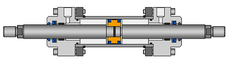 Double piston rod cylinder design