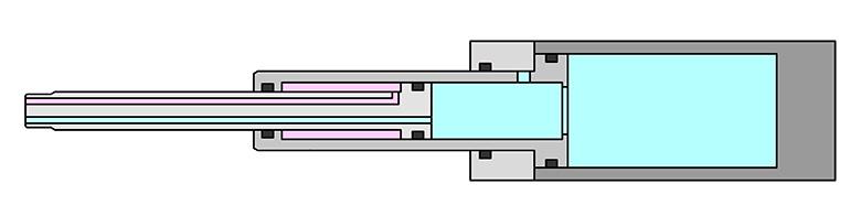 Double acting telescop cylinder