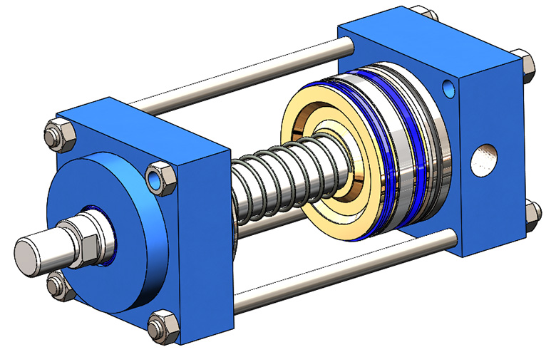 Pneumatic cylinders with spring returns